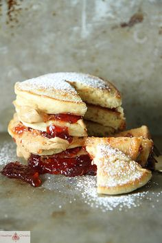 peanut butter and jelly pancakes from heather christo