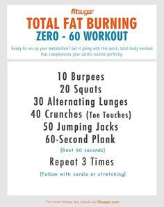 Zero-60 workout.  If you are feeling sluggish during the holidays, this will sure get things going!