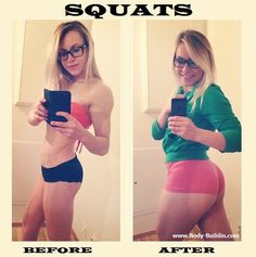 Girls Who Squat Before And After! Tips weight loss Fitness easy workout hips butt legs gym abs Squats easy Shape Burn Calories fat supplements muscle exercises bodybuilding pilates diet fit belly flat pounds run home motivation Squats Before And After, Fitness Before And After Pictures, Pilates Workout, Butt Workout, Thigh Workouts, Body Workouts, Fitness Inspiration, Body Inspiration, Workout Inspiration