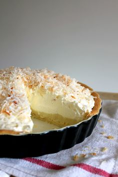 Coconut Cream Pie  ~  A buttery shortbread crust, smooth coconut custard, fluffy whipped cream and crunchy bits of coconut
