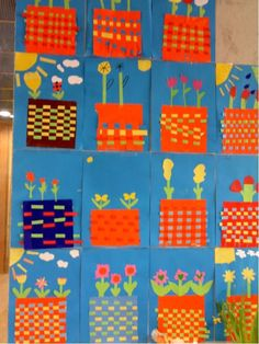 First grade woven flower pots Spring Projects, Spring Crafts, Art For Kids, Crafts For Kids, Arts And Crafts, Primary School Art, 2nd Grade Art, Jr Art, Classroom Crafts