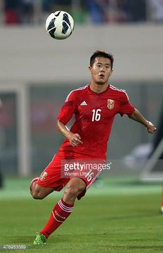 Huang Bowen of China in action during the Asian Cup Qualification match between China and Iraq at the AlSharjah Stadium on March 5 2014 in Sharjah...
