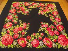 Soviet Floral Shawl Vintage Ukrainian Romanian black scarf old Wool shawl Made in Japan neckerchief romanian style women Perfect gift by RussianshawlMayya on Etsy