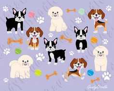 Dogs Clipart  Beagle Bichon Frise Boston Terrier by GaudyDoodle