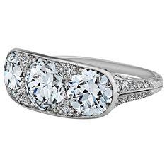 Tiffany & Co. Art Deco Three Stone Diamond Platinum Engagement Ring 1