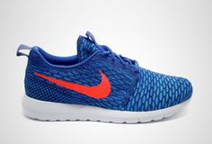 The Nike Flyknit Roshe Run is on to the next one! Are you feeling this Game Royal and Bright Crimson colorway?