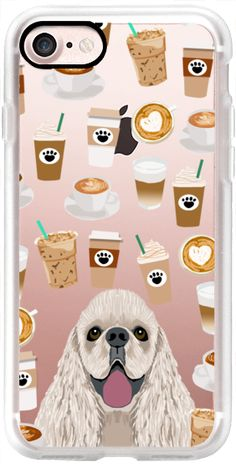 Casetify iPhone 7 Classic Grip Case - Cocker Spaniel coffee addict transparent cell phone case for spaniel owner coffee lovers by Pet Friendly #Casetify