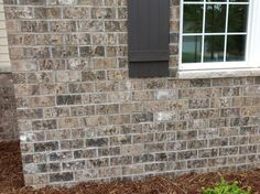 Cherokee Brick & Tile's Mosstown Closure with Gray mortar House Siding, House Paint Exterior, Exterior Paint Colors, Exterior House Colors, Facade House, Gray Exterior, House Facades, Russell House, Brick And Stone