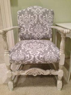 Thrifty Treasures Reupholstered chair and new gorgeous paint finish.  Tutorial on how to!
