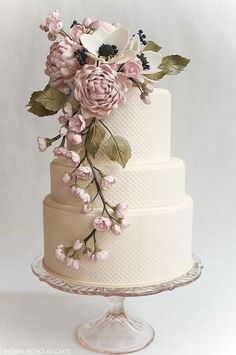SO elegant - not sure how easy the icing is to do like this....and the flowers would be fresh. Not sure about the tier proportions.