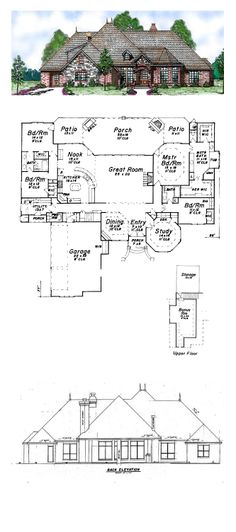 European House Plan 57155 | Total Living Area: 3233 sq. ft., 4 bedrooms  3.5 bathrooms. #houseplan #europeanstyle