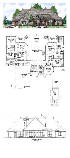 European House Plan 57155 | Total Living Area: 3233 sq. ft., 4 bedrooms 3.5 bathrooms.