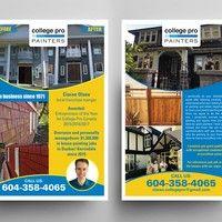 House painting flyer seen at a paint store at the cashier Postcard, flyer or print contest postcard Brochure Design Layouts, Photo Supplies, Folder Design, Booklet Design, Presentation Folder, Custom Postcards, Creative Flyers, Japanese Graphic Design, Postcard Design