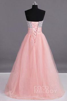Dreamy A-Line Sweetheart Natural Floor Length Tulle Living Coral Sleeveless Lace Up-Corset Prom Dress Beading Sequin prbp0006Cocomelody#promdresses#formalpartydress#
