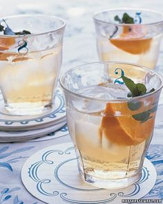 Numbered Drinking Glasses - These whimsical glasses are ideal for serving Lillet -- a French aperitif with a sprig of mint and slice of orange.