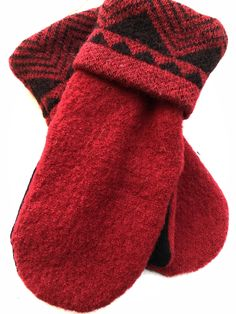 Warm Sweater Mittens, made from a recycled wool sweater. Classic red and black, lined in fleece for extra softness and warmth. by SewSistersSew on Etsy Sweater Mittens, Warm Sweaters, Winter Walk, Build A Snowman, Blazer Buttons, Color Stripes, Wool, Sisters, Shopping
