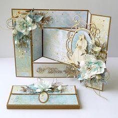 Dziś w ramach inspiracji dla Scrapka komplet ślubny, czyli kartka składak wespół z kopertą na plik pieniędzy. Tekturki, foamiran, trochę wy... Tri Fold Cards, Fancy Fold Cards, Folded Cards, 3d Cards, Pop Up Cards, Stampin Up Cards, Wedding Anniversary Cards, Wedding Cards, Cascading Card