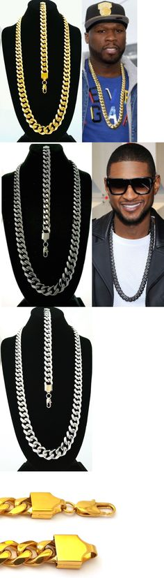 Chains Necklaces and Pendants 137839: Mens 15Mm Gold Stainless Steel Miami Cuban Link Chain Necklace And Bracelet Set -> BUY IT NOW ONLY: $64.99 on eBay!