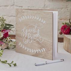 livre d'or carré en bois Guest Book champêtre