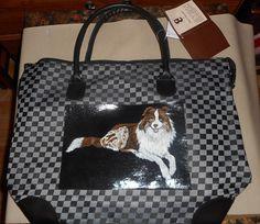 Border Collie Dog Hand Painted Bag Handbag Totebag Laptop Bag