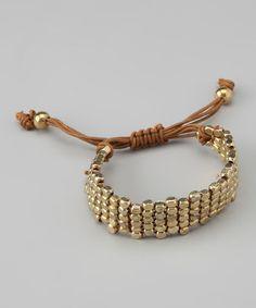 Gold Brick Stitch Bracelet by ZAD