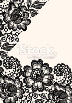 Dentelle, Fleur, Motif floral, Mariage, Image en noir et blanc Illustration vectorielle libre de droits