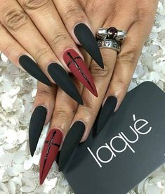 Goth nails … Goth nails … More from my site Ready to Ship Matte Black Goth Nails, Witchy Nails, Grunge Nails, Hippie Nails, Best Acrylic Nails, Acrylic Nail Designs, Nail Art Designs, Nails Design, Stiletto Nail Designs