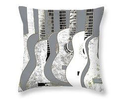 Guitar Art Pillow Gray And White Stringed Music by GrayWolfGallery