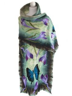 Nuno felted scarf butterfly and spring unique handmade by ArtMode