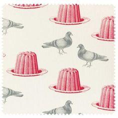 Pigeon & Jelly on ivory Linen - Thornback & Peel - UK Textiles, Textile Patterns, Textile Prints, Textile Design, Surface Design, Surface Pattern, Pretty Patterns, Color Patterns, Pattern Illustration