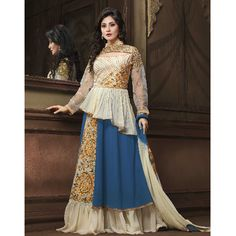 White And Navy Georgette Semi stitched Anarkali Suit