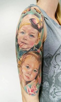 portrait tattoo in blue/greenish color blend by Moni Marino - Love that there are no hard black lines. Lyric Tattoos, Forarm Tattoos, Baby Tattoos, Family Tattoos, Body Art Tattoos, Tatoos, Father Daughter Tattoos, Tattoos For Daughters, Daddy Daughter