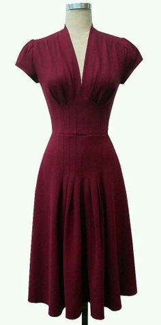 Vintage style wine red dress.