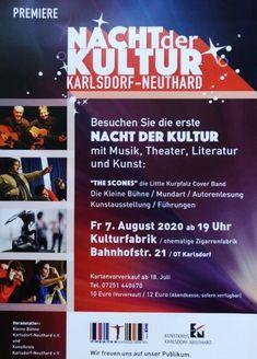 """Nacht der Kultur in Karlsdorf - Likör-/Edelbrandbar vor Ort ❗️ Am Freitag, 07.08.2020 ab 19.00 Uhr heißt es endlich wieder Öffentlichkeit! Bei der """"Nacht der Kultur"""" in der """"Alten Zigarrenfabrik"""" (Karlsdorf, Bahnhofstraße 21) gibt es einen kulturellen Sommerabend zu genießen. Programmpunkte u.a.:... - The Scones - Little Kurpfalz Cover Band mit musikalischen Beiträgen - Kleine Bühne e.V. mit Darbietungen - Kunstkreis Karlsdorf-Neuthard mit Ausstellungen - Mundart mit musikalischer…"""