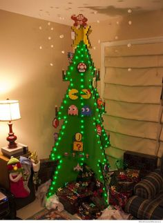 Unique 8bit looking Christmas tree for the old school gamers and geeks.