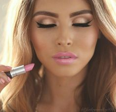 Pink Lips Golden Eyes Pretty Makeup Love Perfect Gorgeous
