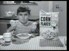Kellogg's Corn Flakes - Sunshine Breakfast (1955, UK) You know how back then, ads would often be left rolling for an extra 10 or so seconds for the network to edit out in some way, sometimes resulting in the last character seen carrying on what they're supposed to be doing? Well, just watch this.