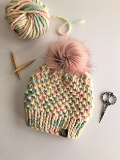 Ravelry: The Madison Beanie pattern by Collette Smith Honeystitchco Beanie Knitting Patterns Free, Baby Hats Knitting, Knitted Hats, Crochet Patterns, Hat Patterns, Chunky Hat Pattern, Beanie Pattern, Crochet Beanie, Knit Crochet