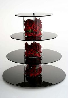 cupcake stand with red silk roses.