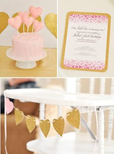 "Pink and gold ""love"" first birthday party"