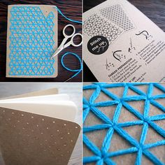 DIY Teal Embroidery Pocket Notebooks by CuriousDoodles on Etsy, Pocket Notebook, Diy Notebook, Handmade Notebook, Paper Embroidery, Embroidery Kits, Modern Embroidery, Notebook Cover Design, Diy Broderie, Paper Crafts