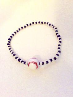 baseball bracelet X lg ball stretch bracelet by JeriAielloartstore