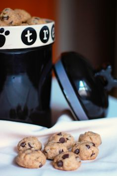 Bite Size Carob Chip Dog Cookies for you and your furr baby Dog Cookie Recipes, Homemade Dog Cookies, Dog Biscuit Recipes, Homemade Dog Food, Dog Treat Recipes, Dog Food Recipes, Carob Recipes, Dog Bakery, Carob Chips