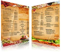 Las Fuentas Menu Design as a large sub (hoagie, whatever you like to call it! The type is placed on top of what looks like part of the bread. Makes us hungry just looking at it! The Menu, Interior Natural, Home Interior, Menu Card Design, Layout Design, Restaurant Menu Card, Restaurant Ideas, Food Retail, Asymmetrical Design