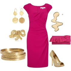 Pink & Gold, created by yjmunson on Polyvore