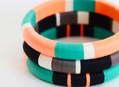 Bubblegum Pink and Orange Stackable Thread Bangle Bracelet with Stripes - Item Silk Thread Bangles Design, Silk Thread Necklace, Silk Bangles, Thread Bracelets, Thread Jewellery, Fabric Jewelry, Bangle Bracelets, Stackable Bracelets, Jewelry Crafts