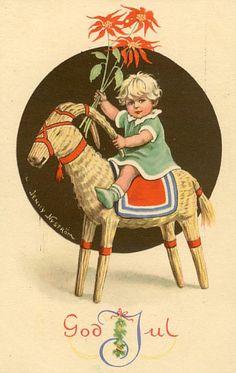 Jenny Nystrom vintage Scandinavian Christmas postcard.