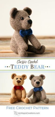 crochet teddy bear pattern Everybody needs a crochet teddy bear! Use this free amigurumi pattern, instructions, and photos to make one for yourself and everyone you know! Crochet Teddy Bear Pattern Free, Teddy Bear Patterns Free, Crochet Amigurumi Free Patterns, Crochet Animal Patterns, Stuffed Animal Patterns, Free Crochet, Crochet Animals, Crochet Stuffed Animals, Crochet Cats