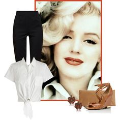 A fashion look from March 2014 featuring short sleeve blouse, silk pants and tory burch sandals. Browse and shop related looks. Estilo Gamine, Marilyn Monroe Outfits, Marylin Monroe, Mobile Beauty, Star Pictures, Star Pics, Devil Wears Prada, Mein Style, Deep Winter