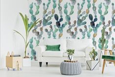 Climbing cacti • Living room - Contemporary - Nature - Wall Murals ✓ 365 Day Money Back Guarantee ✓ Consulting on the Pattern Selection ✓ 100% Safe✓ Set up online!